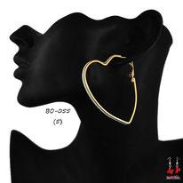 Boucles d'oreilles coeurs créoles dorées