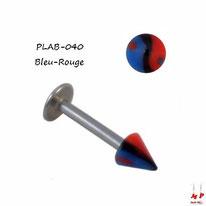 Piercing labret pointe acrylique yin yang rouge et bleu