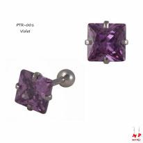 Piercing tragus à strass carré violet et barre en acier chirurgical