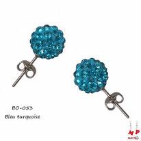 Boucles d'oreilles perles rondes shamballa bleu turquoise