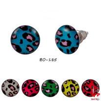 Boucles d'oreilles motifs tachetés bleus, blanches, magenta, vertes, jaunes ou rouges