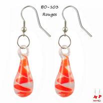 Boucles d'oreilles pendantes gouttes d'eau en verre et tourbillons rouges