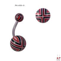 Piercing nombril boules acryliques à quadrillages rouges, noirs et blancs