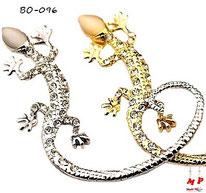 Boucle d'oreille lézard salamandre dorée ou argentée sertie de strass