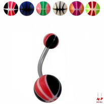 Piercings nombril boules ballons de basket en acrylique