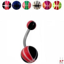 Piercings nombrils à boules acryliques ballons de basket 6 couleurs