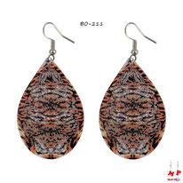 Boucles d'oreilles pendantes gouttes d'eau filigrane motif léopard