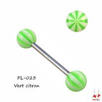 Piercing langue boules ballons de plage verts citrons