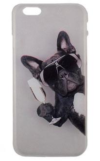 Coque iPhone 6/6s bouledogue français noir et ses lunettes de soleil