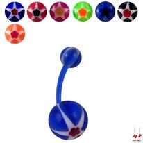 Piercings nombrils bioflex à boules acryliques étoiles et fleurs