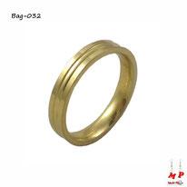 Bague anneau doré en acier inoxydable
