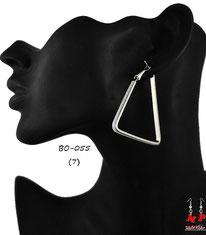 Boucles d'oreilles anneaux argentés triangles