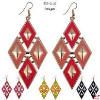 Boucles d'oreilles pendantes quatre losanges dorés 4 couleurs