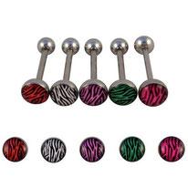 Piercing langue boules plates zébrées 5 couleurs