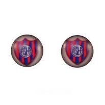 Boucles d'oreilles puces rondes logo club de football san lorenzo de almagro