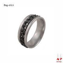 Bague anneau argenté à chaine noire en acier inoxydable
