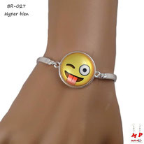 Bracelet tour de bras agenté à emoji rond hyper bien