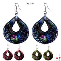 Boucles d'oreilles pendantes ovales motif plume de paon 3 couleurs