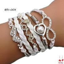 Bracelet infini en similicuir blanc et breloques moustache, love et coeur perlé sertis de strass