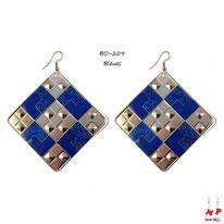 Boucles d'oreilles pendantes carrées à damiers dorés et bleus pailletés