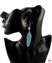 Boucles d'oreilles pendantes plumes bleues ciel et perles nacrées