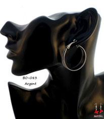 Boucles d'oreilles petits anneaux avec paillettes argentées