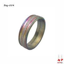 Bague anneau arc-en-ciel à paillettes argentées en acier chirurgical