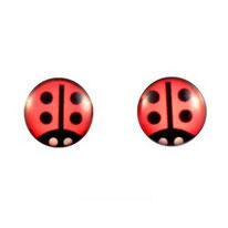 Boucles d'oreilles logo coccinelles rouges en acier chirurgical