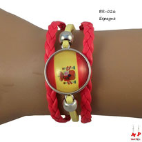Bracelet en similicuir jaune et rouge et drapeau rond drapeau de l'Espagne sous dôme en verre