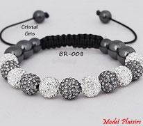 Bracelet shamballa bicolore cristal et gris