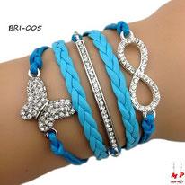 Bracelet infini à multi-symboles papillon et barre en strass et similicuir