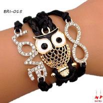 Bracelet infini noir multi-breloques love à strass et hibou