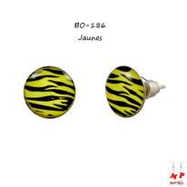 Boucles d'oreilles puces rondes motif zébré noires et jaunes