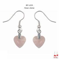 Boucles d'oreilles pendantes à coeurs roses en acrylique