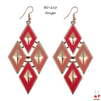 Boucles d'oreilles pendantes losanges dorés et rouges