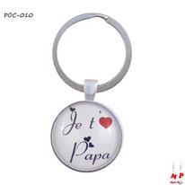 Porte-clés rond je t'aime papa sous cabochon en résine