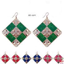 Boucles d'oreilles pendantes carrées à damiers dorés et 4 couleurs à paillettes