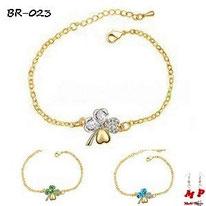Bracelets trèfle à quatre feuilles dorés et cristal plusieurs couleurs