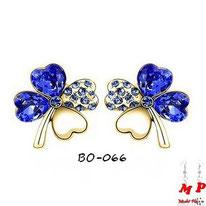 Boucles d'oreilles trèfles à quatre feuilles donrées et strass bleus foncés