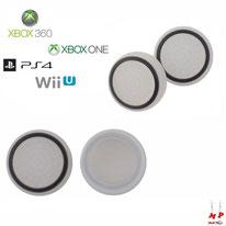 Paire de grips de protection blancs translucides à cercles noirs en silicone pour joysticks de PS3, PS4, Xbox 360, Xbox One et Nintendo Wii U