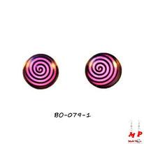 Boucles d'oreilles puces rondes motif tourbillon violet et noir