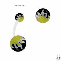 Piercing nombil bioflex boules acryliques à flammes jaunes, blanches et noires