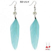 Boucles d'oreilles plumes bleues et perles nacrées