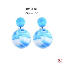 Boucles d'oreilles double perles fumées bleues ciel et blanches