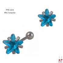Piercing tragus et cartilage à étoile en strass bleu turquoise et acier chirurgical