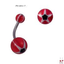 Piercing nombril à boules acryliques étoiles et fleurs noires, blanches et rouges