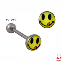 Piercing langue logo smiley tire la langue en acier inox