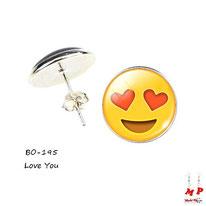 Boucles d'oreilles à puces rondes emoji love you coeur