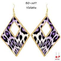 Boucles d'oreilles pendantes losanges léopards violettes et dorées