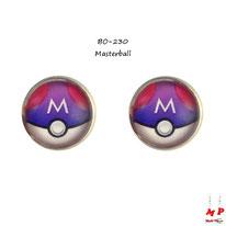 Boucles d'oreilles puces rondes à motif Masterball